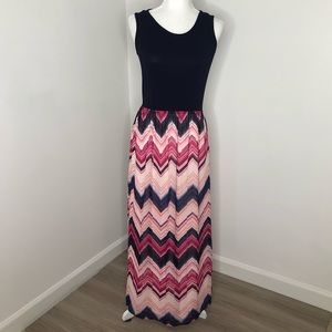 Charming Charlie pink and blue maxi dress, size M
